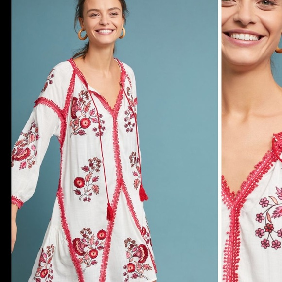 d992607b91d1 Anthropologie Dresses | Ranna Gill Hadley Embroidered Floral Tunic ...